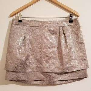 Express 2 Tiered Silver Skirt, Size 10